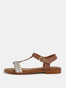 Sandale maro-crem din piele naturala Tamaris