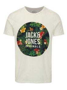 Bílé tričko s květovaným potiskem Jack & Jones Rain