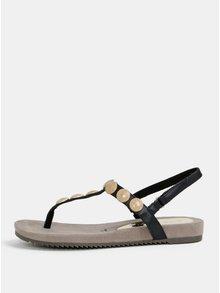 Sandale negri cu aplicatie aurie Tamaris