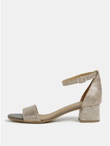 Sandale aurii din piele naturala cu toc Tamaris