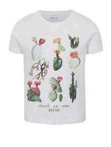 Biele dievčenské tričko s potlačou kaktusov name it Jin