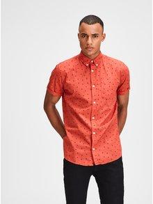 Červená košile s motivem palmy a krátkým rukávem Jack & Jones Cambridge