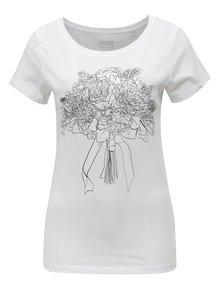 Tricou de dama alb cu print ZOOT Buchet