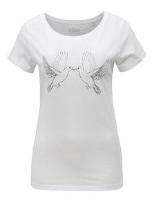 Tricou de dama alb cu print ZOOT Porumbeii albi