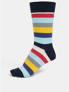 Sosete gri-albastru unisex in dungi Happy Socks Stripe