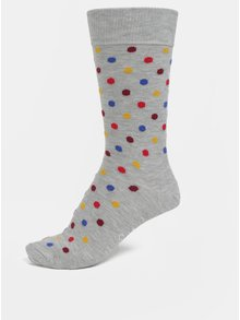 Sosete gri unisex cu buline Happy Socks Dot