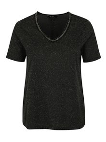Tmavě šedé žíhané tričko s aplikací Ulla Popken