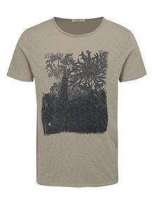 Tricou gri melanj cu print Selected Homme Casy