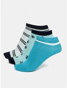 Súprava troch párov chlapčenských ponožiek v modrej farbe name it Janik