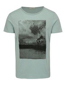 Mentolové melírované tričko s potlačou Selected Homme Casy
