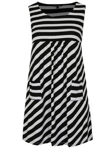 Bílo-černé pruhované šaty s kapsami Ulla Popken
