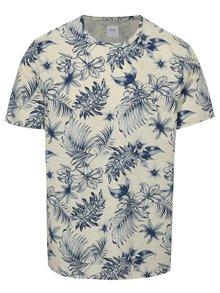 Tricou albastru-gri melanj cu print floral Burton Menswear London