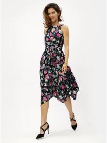 Tmavomodré kvetované šaty s prestrihmi v dekolte M&Co Floral