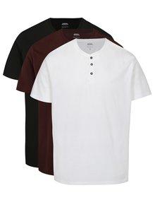 Set de 3 tricouri alb, visiniu si negru cu nasturi mici Burton Menswear London