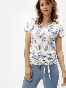 Modro-krémové dámske kvetované tričko s uzlom M&Co