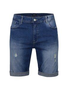 Pantaloni albastri scurti din denim cu aspect usat Burton Menswear London