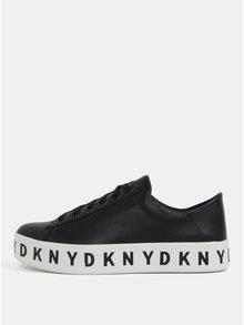 Tenisi negri din piele naturala cu platforma DKNY