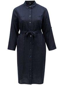 Tmavě modré košilové lněné šaty Ulla Popken