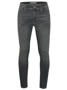 Blugi gri stretch skinny din denim cu aspect prespalat Burton Menswear London