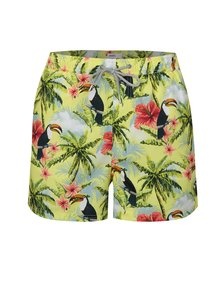 Pantaloni scurti verde-galben cu model de toucan Burton Menswear London