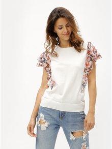 Bílé tričko se vzorovanými volány DKNY