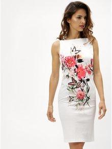 Biele kvetované puzdrové šaty M&Co Oriantal