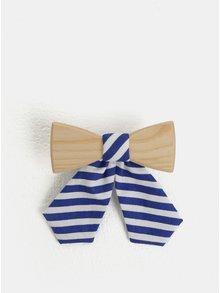 Krémovo-modrý dámský dřevěný motýlek s pruhovanou mašlí BeWooden Grea
