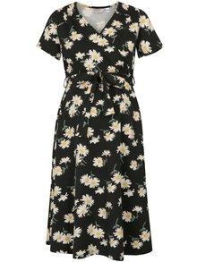 Krémovo–čierne tehotenské kvetované šaty na dojčenie Dorothy Perkins Maternity