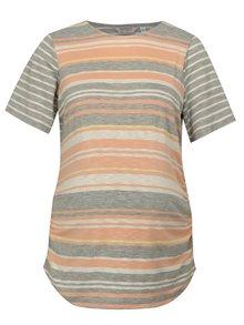 Meruňkovo-šedé pruhované těhotenské tričko Dorothy Perkins Maternity