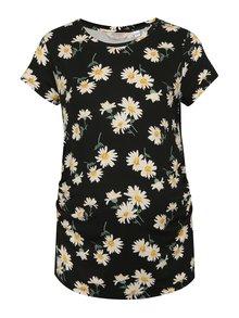 Krémovo–čierne kvetované tehotenské tričko Dorothy Perkins Maternity