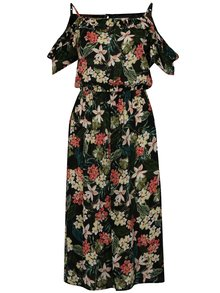 Černo-zelené midišaty s odhalenými rameny Dorothy Perkins Tall