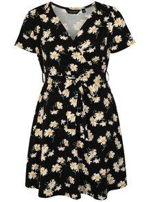 Čierne kvetované šaty s krátkym rukávom Dorothy Perkins Curve
