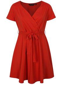 Červené šaty s překládaným výstřihem Dorothy Perkins Curve