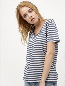 Bielo-modré dámske pruhované tričko Tommy Hilfiger