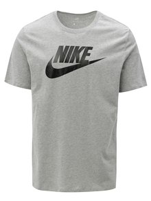 Šedé pánské žíhané tričko s potiskem Nike
