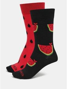Červeno-čierne unisex vzorované ponožky Fusakle