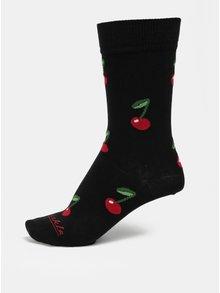 Červeno-čierne unisex vzorované ponožky Fusakle Čerešne v noci