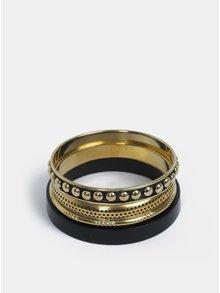 Súprava štyroch náramkov v čiernej a zlatej farbe Pieces Iline
