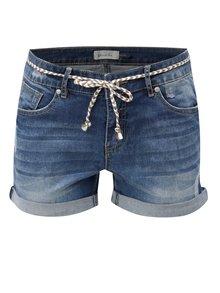 Pantaloni scurti albastri din denim cu snur in talie Blendshe Casual
