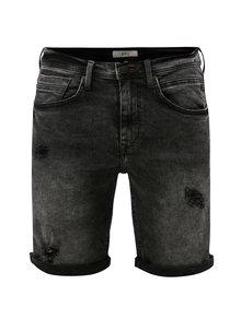 Pantaloni scurti negri slim fit din denim cu aspect usat si prespalat Blend