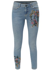 Blugi albastri slim fit din denim cu model pictat manual Noisy May Lucy