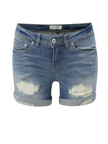 Pantaloni scurti albastri din denim cu aspect uzat Blendshe Nova Hazen