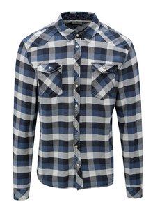 Modrá károvaná slim fit košeľa Blend