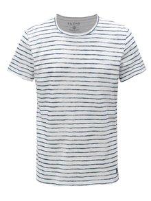 Tricou albastru-alb slim fit in dungi Blend