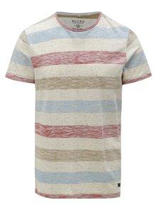 Tricou rosu-crem slim fit cu model in dungi Blend