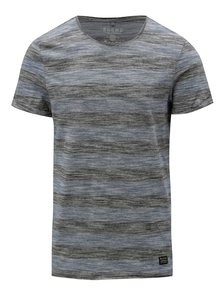 Tricou albastru-gri melanj slim fit cu model in dungi Blend