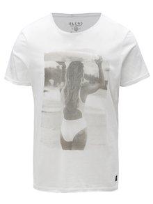 Biele slim fit tričko s potlačou ženy Blend
