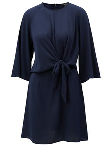Tmavě modré šaty s uzlem a 3/4 rukávem AX Paris