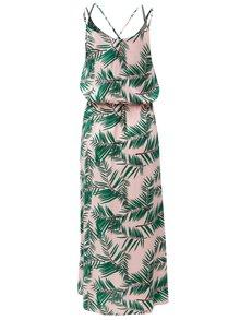 Rochie verde-roz maxi cu model si bretele subtiri Blendshe Adeli