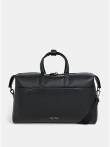 Čierna kožená cestovná taška s vakom Calvin Klein Jeans